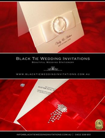 Black Tie Wedding Invitations in Melbourne Wedding and Bride Magazine, July 2011