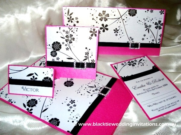 French Lace Wedding Invitation Fuchsia Spring