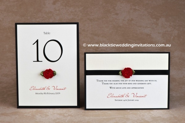 Single Red Rose Wedding Invitation by Black Tie Wedding Invitations