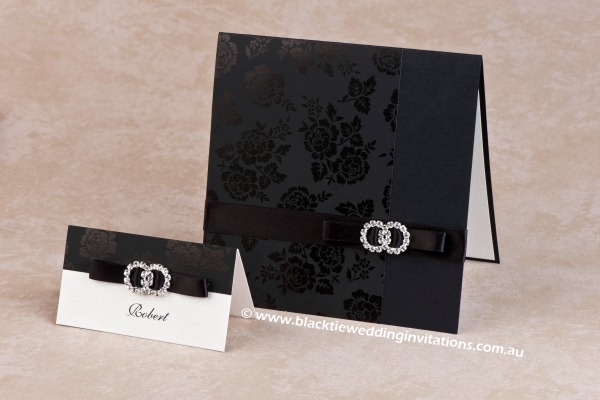 wedding invitation black rose
