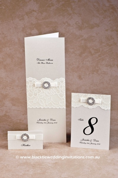 bridal lace - place card, menu and table number