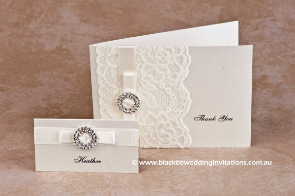 bridal lace - place card and thank you card