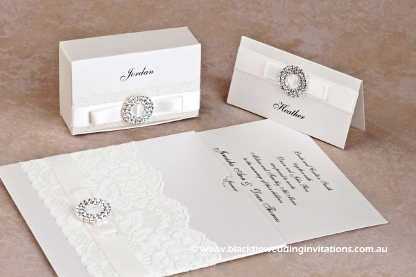 bridal lace - favour box, place card and invitation