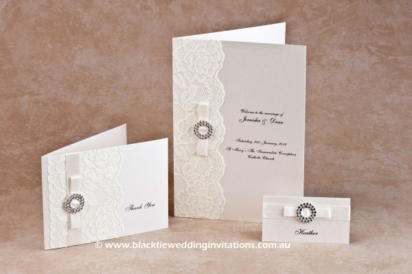 bridal lace - thank you card, service booklet cover and place card
