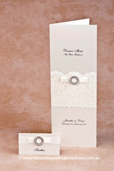 bridal lace - place card and menu