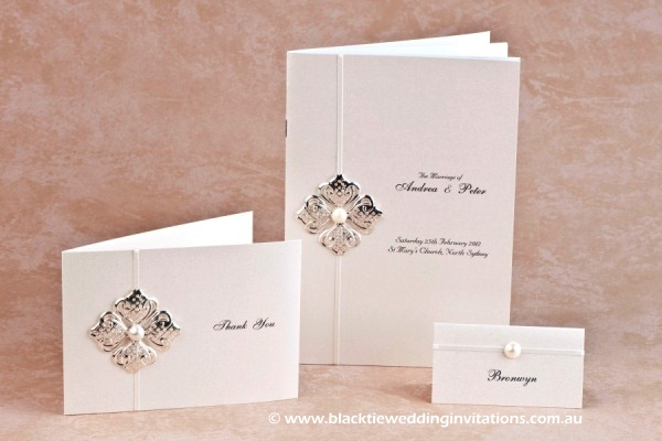 chic - thank you card, service booklet and place card
