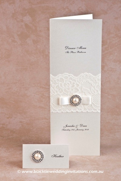 diamonds and pearls - place card and menu