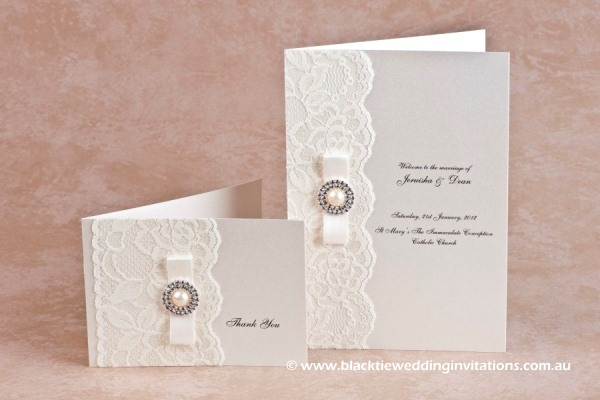 diamonds and pearls - thank you card and service booklet cover