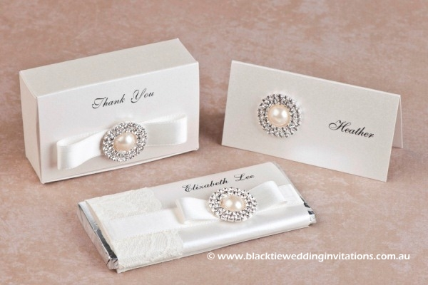 diamonds and pearls - favour box, place card and personalised chocolate