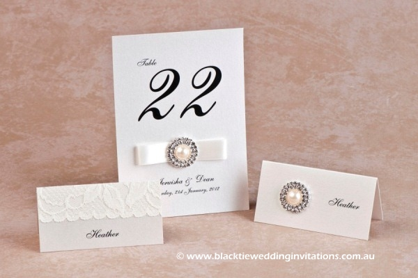 diamonds and pearls - place cards and table number