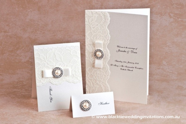 diamonds and pearls - thank you card, place card and service booklet cover