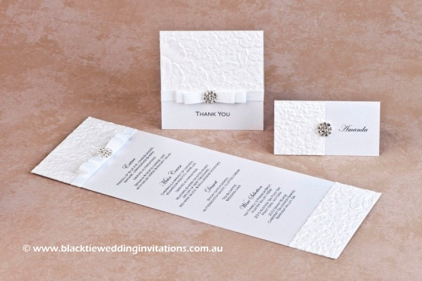 dove - menu, thank you card and place card