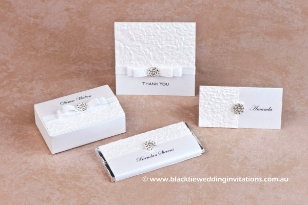 dove - thank you card, favour box, place card and personalised chocolate