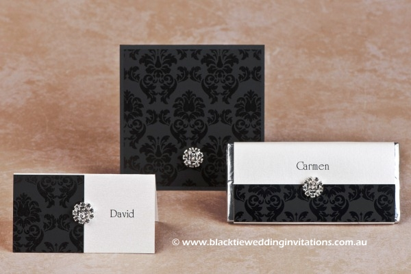 grace ebony - place card, thank you card and personalised chocolate