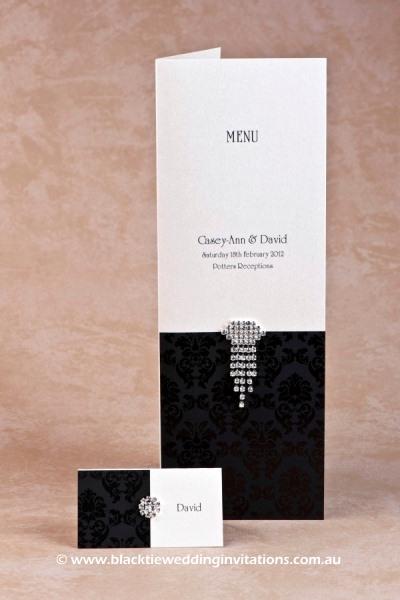 grace ebony - place card and menu