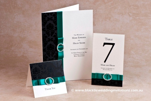 emerald palace - thank you card, service booklet cover and table number