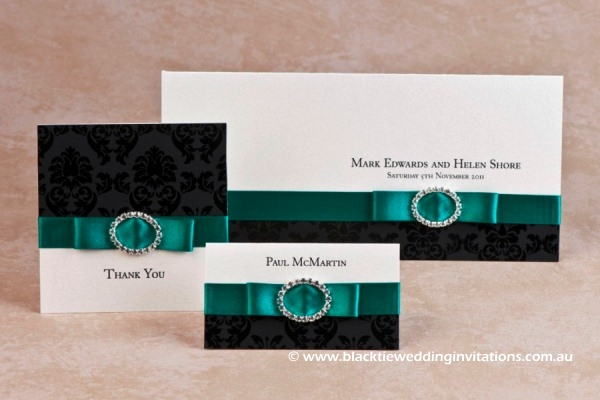 emerald palace - thank you card, invitation and place card