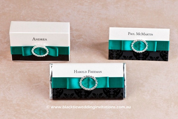 emerald palace - favour box, personalised chocolate and place card