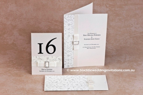 glamour - table number, service booklet cover and invitation