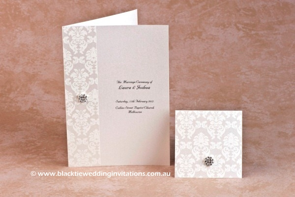 grace ivory - service booklet cover and thank you card