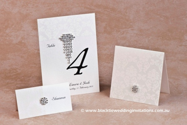 grace ivory - place card, table number and thank you card