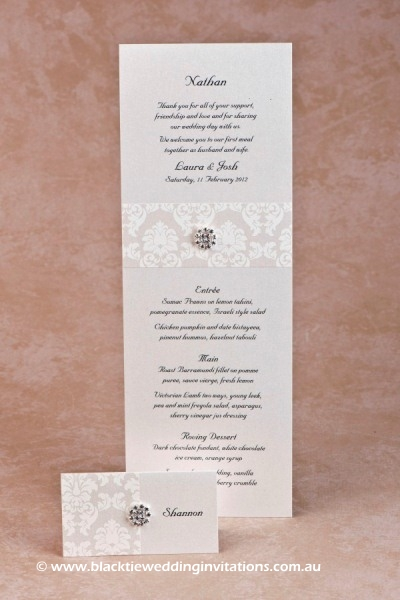 grace ivory - place card and menu
