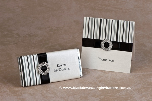 licorice stripe - personalised chocolate and thank you card