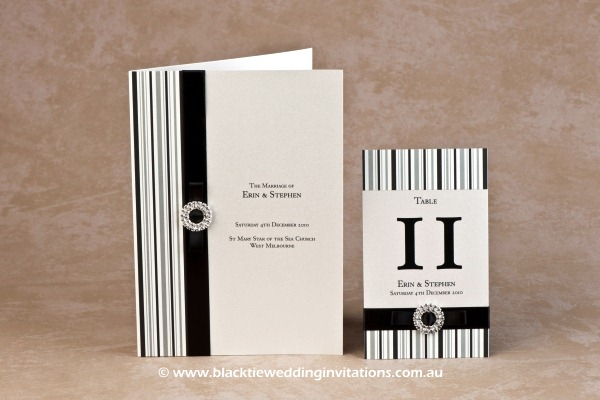 licorice stripe - service booklet cover and table number