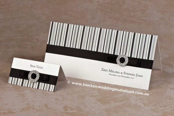 licorice stripe - place card and invitation