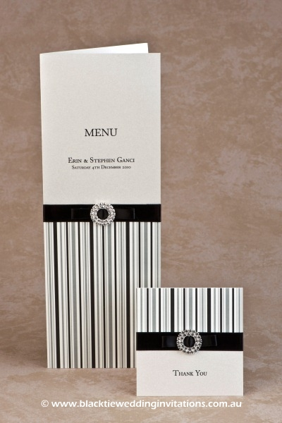 licorice stripe - menu and thank you card