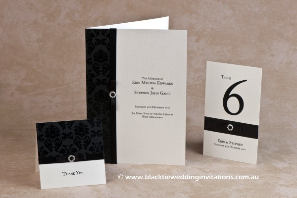 midnight - thank you card, service booklet cover and table number