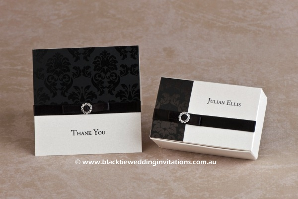 midnight - thank you card and favour box