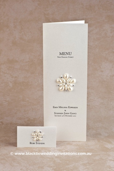 ocean pearl - place card and menu