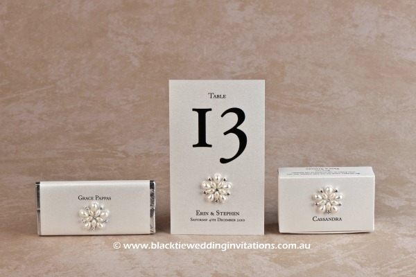 ocean pearl - personalised chocolate, table number and favour box