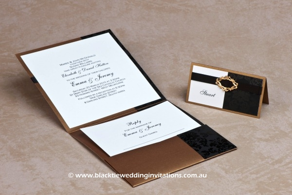 old gold - place card and invitation with rsvp card