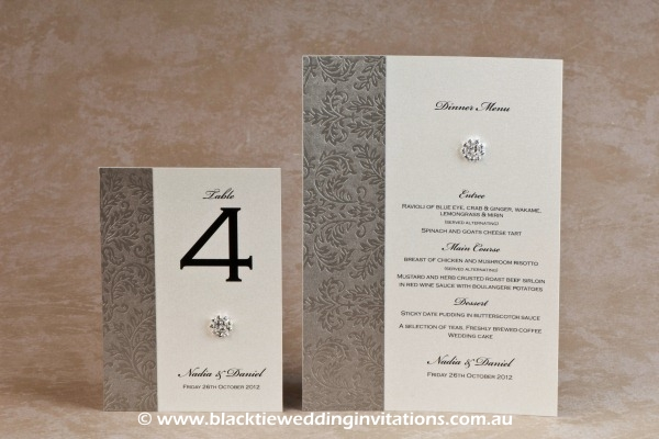 olive grove - table number and menu