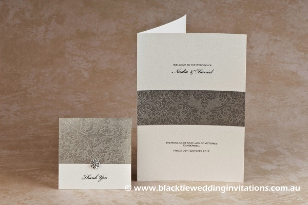 olive grove - thank you card and service booklet cover