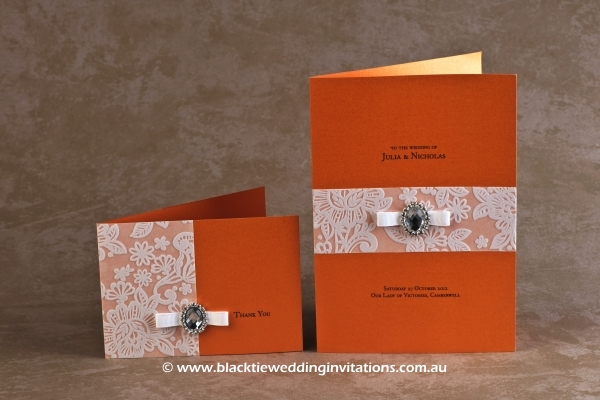 orange blossom - thank you card and service booklet cover