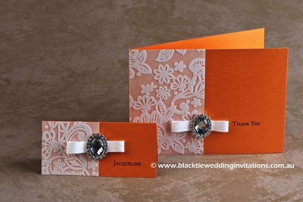 orange blossom - place card and thank you card