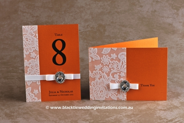 orange blossom - table number and thank you card