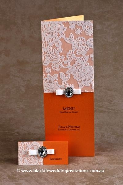 orange blossom - place card and menu
