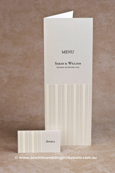 pinstripe - place card and menu