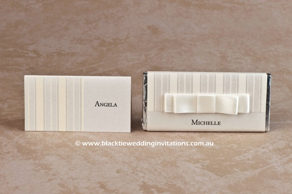 pinstripe - place card and personalised chocolate