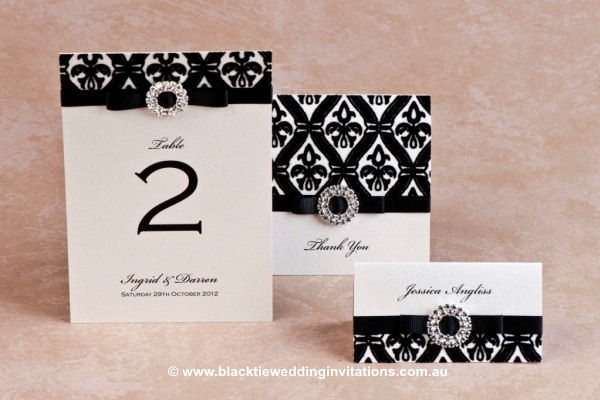 prince charming - table number, thank you card and place card