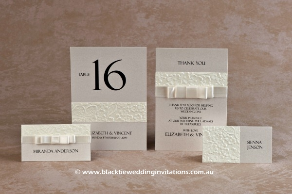 pure - place cards, table number and thank you card