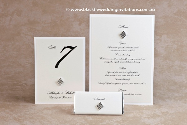 queen of diamonds - table number, personalised chocolate and menu