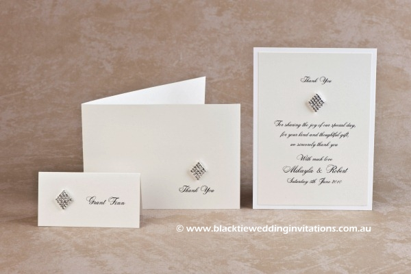 queen of diamonds - place card and thank you cards
