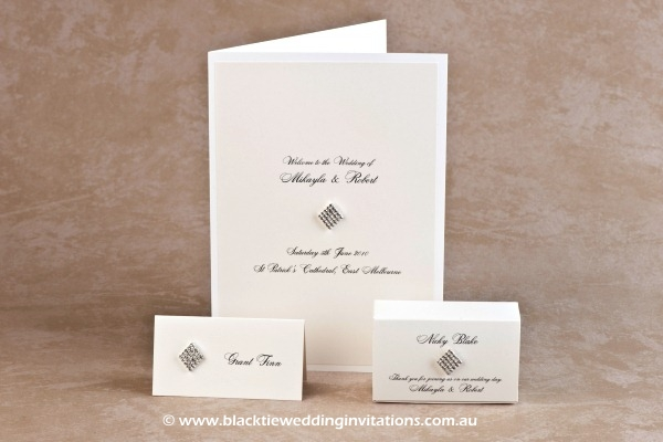 queen of diamonds - place card, service booklet cover and favour box