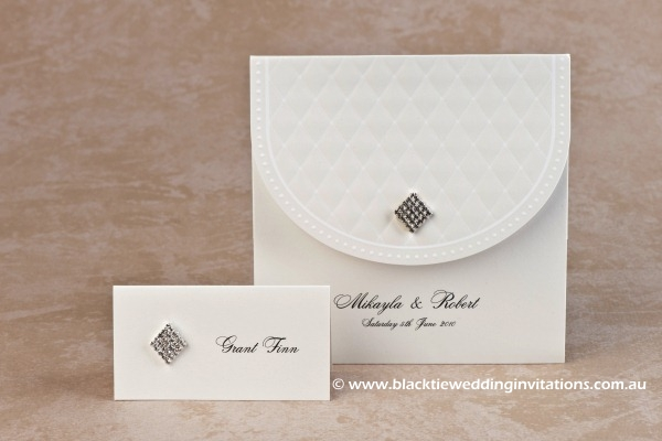 queen of diamonds - place card and invitation