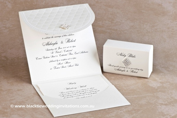 queen of diamonds - invitation with reply and wishing well cards plus favour box